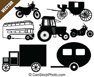 Transportation icons collection on white, vector...