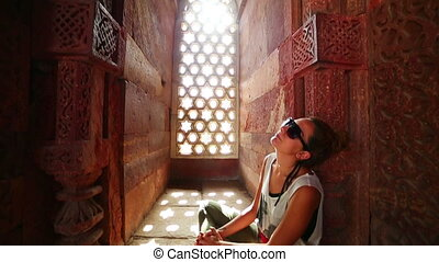 Tourist girl at New Delhi - Caucasian tourist girl at Qutb...