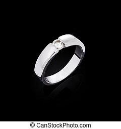Diamond ring - White gold ring with white diamonds
