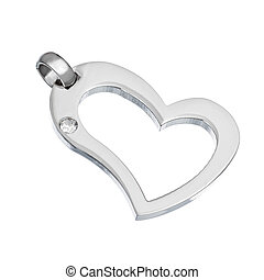 Silver pendant in shape of heart on a white background