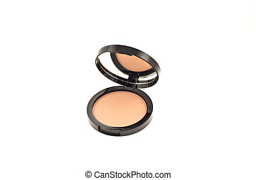 face powder - open face powder with mirror on a white...