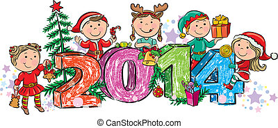 New Year's children 2014. Contains transparent objects....