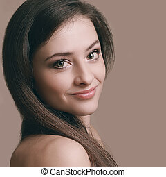 Beautiful romantic woman looking happy Closeup art portrait