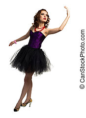 young attractive woman dancing in a transparent dress