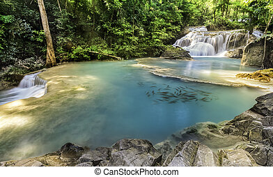 Erawan Waterfall - First level of Erawan Waterfall in...
