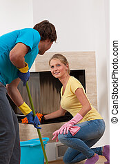 Fair division of labor in home, young couple