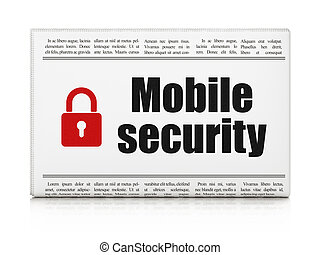 Safety news concept: newspaper with Mobile Security and Padlock
