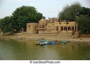 Lake in Jaisalmer, Rajasthan - The holy lake of Jaisalmer in...