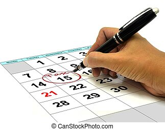 Circling Tax Date on a Calender - Hand Circling Tax Date on...