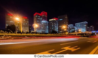 Freeway traffic at night, Beijing - Freeway traffic at night...