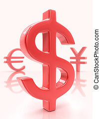 Sign Dollar (Euro / Yen) - Sign dollar in the first plane,...