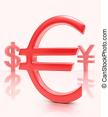 Sign Euro (Dollar / Yen) - Sign euro in the first plane,...