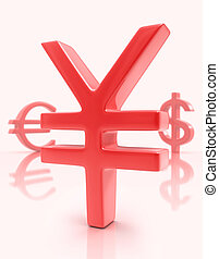 Sign Yen (Euro / Dollar) - Sign yen in the first plane, with...