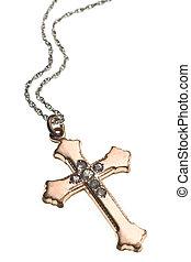 Antique Irish Cross isolated on white background