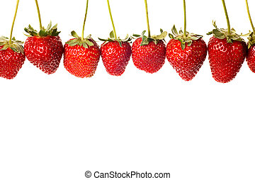 ripe red strawberries with stems and leaves isolated on...
