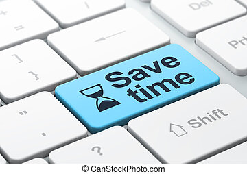 Hourglass and Save Time on keyboard background - Time...