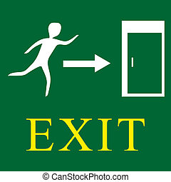 Emergency exit - green sign with man. Vector illustration.