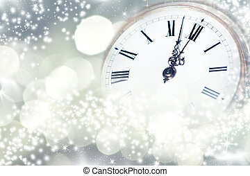 New year at midnight - Gold pocket watch pointing midnight