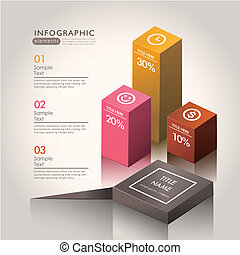 vector abstract 3d chart infographics - vector abstract 3d...