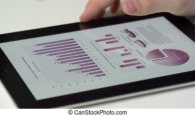 Financial analysis - Close-up of an analyst looking through...