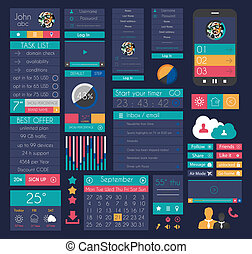UI Flat Design Elements for Web, Infographics, Data display,...