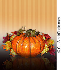 Pumpkin with Fall flowers - Image and Illustration...
