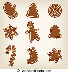 Set of Christmas cookies - Set of cute Christmas gingerbread...
