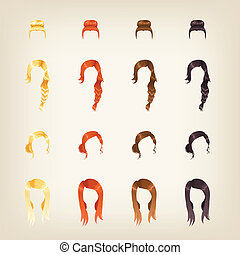 Set of female hair - Set of different female hairstyles in 4...