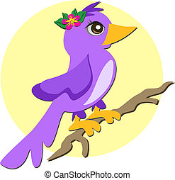 Purple Bird with Flower on a Branch