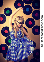 retro singer - Charming pin-up woman with retro hairstyle...