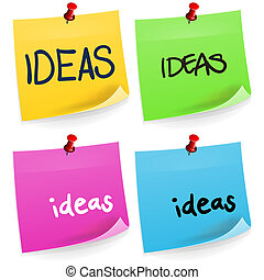 Ideas Sticky Note - Illustration of ideas word on colorful...