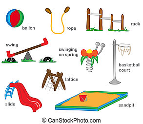 Playground Illustration - Colorful toys for childhood games...