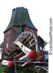 Destroyed windmill in storm 2013 - One of the two twin...