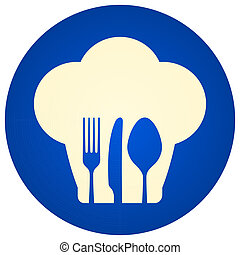 Blue Chef Hat Symbol - Illustration of blue icon with fork...
