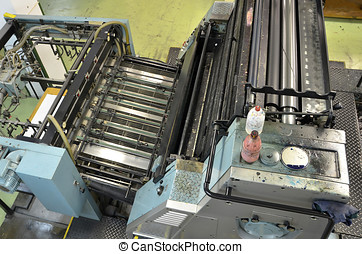 Offset - Top view of an old printing press This machine uses...