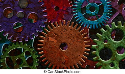 Colorful Rusty Mechanical Gears - Colorful Rusty Mechanical...