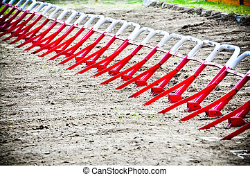 empty starting gates before start at motocross ride