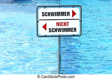 Pool divided in two sides for swimmers and not swimmers (German language)