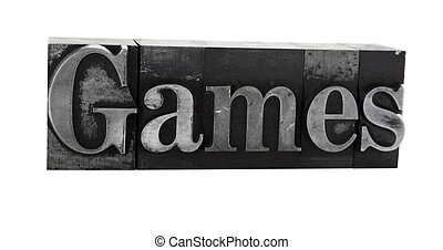 games in old metal type - the word \'games\' in letterpress...