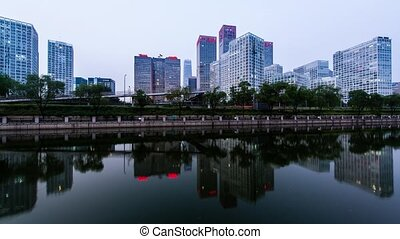 Architecture in Beijing - From day to night of Tonghui River...