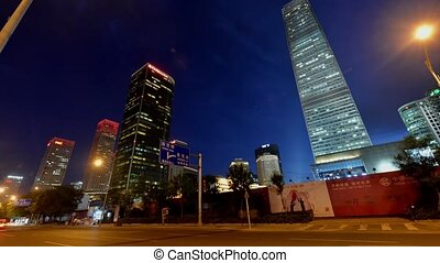 CBD area at night in Beijing - Traffic and buildings in...