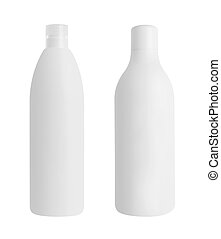 Two cosmetical bottles isolated on white background