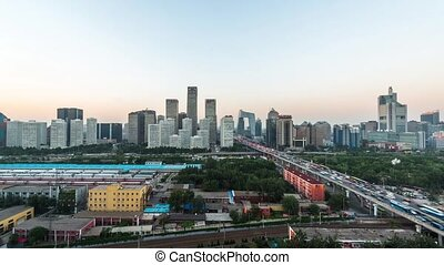 CBD district at night in Beijing - From day to night at CBD...