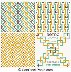 Set of vector seamless textures in retro style.
