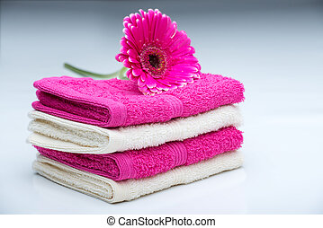 Pink-white towels with flower