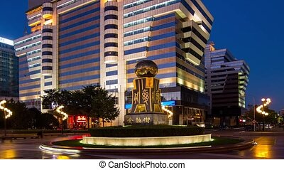 Financial area at night in Beijing - The 3D golden...