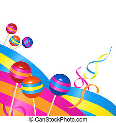 Candies and Ribbons - Background illustration with candies...