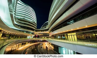 Galaxy soho at night in Beijing