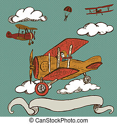 vintage aeroplanes with banner - Hand drawn doodle...