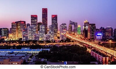 Overlooking cbd district of Beijing - The CBD skyline sunset...